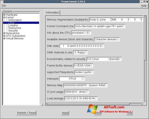 Скріншот PowerTweak для Windows 7
