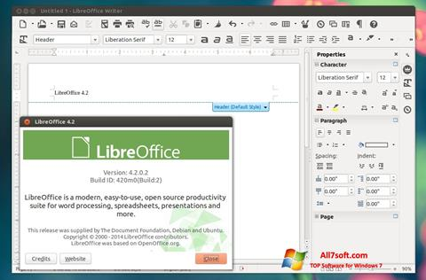 Скріншот LibreOffice для Windows 7