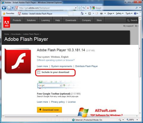 Скріншот Adobe Flash Player для Windows 7