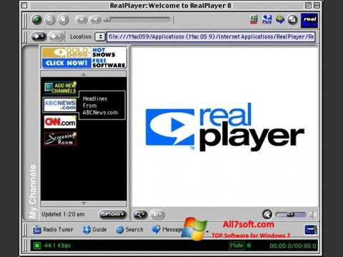 Скріншот RealPlayer для Windows 7