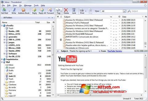 Скріншот Mozilla Thunderbird для Windows 7
